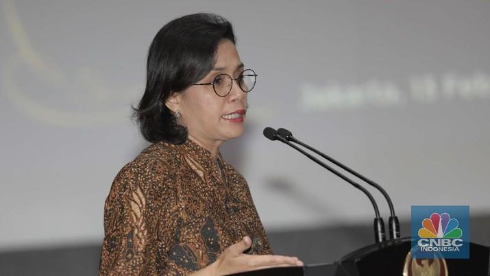Menteri Keuangan Sri Mulyani di acara Perjanjian Kerja Sama Percepatan dan Perluasan Elektronifikasi Transaksi Pemerintah Daerah (ETP). (CNBC Indonesia/Muhammad Sabki)