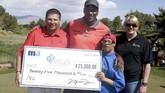 Lewat ajang tahunan turnamen golf Michael Jordan Celebrity Invitationa, si pemilik nomor 23 itu aktif melakukan donasi. (Isaac Brekken/Getty Images for Michael Jordan Celebrity Invitational/AFP)