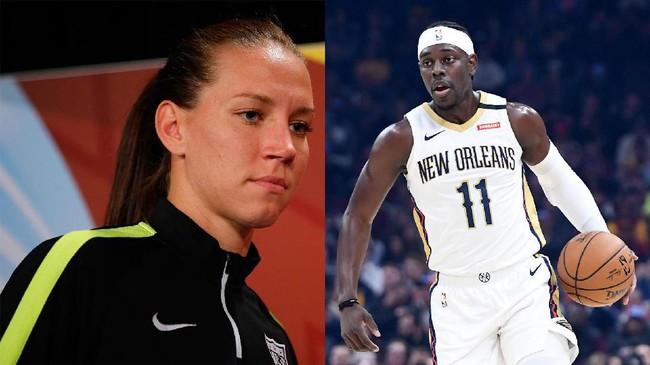 Legenda sepak bola putri Amerika Serikat Lauren Cheney (kiri) menikah dengan pemain NBA dari New Orleans Pelicans Jrue Holiday pada Juli 2013. (Kevin C. Cox/Jason Miller/Getty Images/AFP)