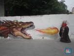 Keren! Ini Mural Satwa Bantaran Kali Opak Yang Instagrammable