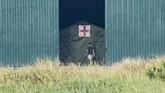 SeoranWNI yang dievakuasi dari Wuhan, China karena Virus Corona masuk ke dalam ruang pemeriksaan kesehatan pada hari ke-13 di Hanggar Pangkalan Udara TNI AU Raden Sadjad, Ranai, Natuna, Jumat (14/2). (ANTARA FOTO/Muhammad Adimaja/foc).