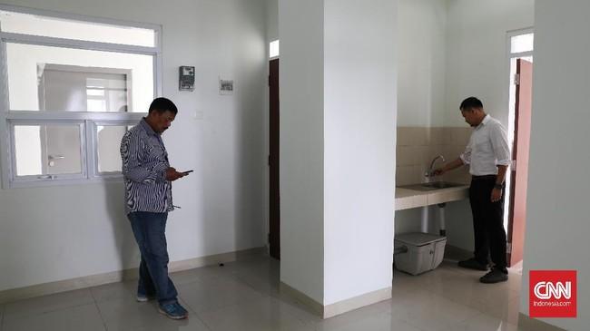 Satu unit rumah susun terdiri dari dua kamar tidur, ruang tamu, dan satu kamar mandi. Total luas satu unit sebesar 36 meter persegi. (CNNIndonesia/Safir Makki).
