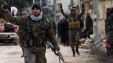 Saat ini wilayah utara Aleppo dikuasai oleh pasukan Turki dan milisi Suriah yang bersekutu dengan mereka.(SANA via AP)