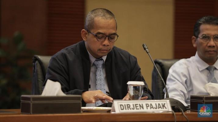 Direktur Jenderal (Dirjen) Pajak Kementerian Keuangan (Kemenkeu), Suryo Utomo saat Konferensi pers APBN KiTa. (CNBC Indonesia/Tri Susilo)