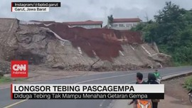 VIDEO: Tebing Longsor Usai Gempa di Garut