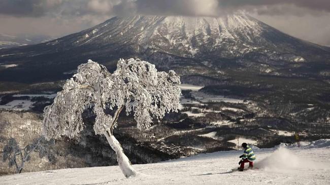 Seorang pria menggunakan papan salju menuruni lembah di hadapan Gunung Yotei di Niseko, Hokkaido, Jepang. Seorang peski yang berkunjung dari Hong Kong, Nguyen Nguyen, mengatakan saat ini jumlah salju kian sedikit. (AP Photo/Jae C. Hong)