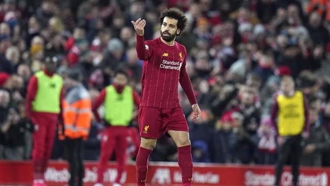 Liverpool berhasil menyamakan kedudukan menjadi 2-2 lewat Mohamed Salah di menit ke-68 setelah menerima umpan Andy Robertson. (AP Photo/Jon Super)