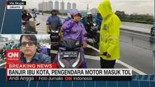 VIDEO: Banjir Kepung Jakarta, Pengendara Motor Masuk Tol