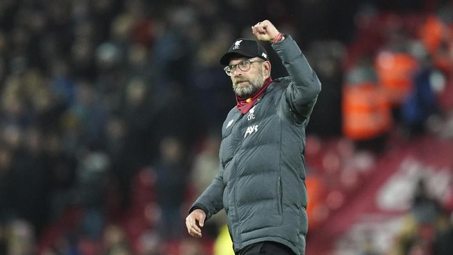 Jurgen Klopp makin dekat mengakhiri dahaga gelar Liga Inggris untuk Liverpool yang sudah berlangsung sejak 1990. (AP Photo/Jon Super)