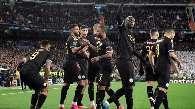 Kemenangan 2-1 di markas Real Madrid membuat Manchester City punya peluang bagus untuk lolos ke perempat final. (Photo by JAVIER SORIANO / AFP)