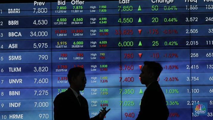 Ilustrasi Bursa, Pergerakan Layar IHSG di Gedung BEI Bursa Efek Indonesia  (CNBC Indonesia/Muhammad Sabki)