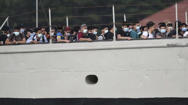 Personel yang ikut misi evakuasi berjumlah 762 orang yang terdiri dari unsur TNI, Polri, BNPB, Kementerian Kesehatan, Kementerian Luar Negeri, dan pihak swasta Artha Graha Peduli.(ANTARA FOTO/Akbar Nugroho Gumay/nz).