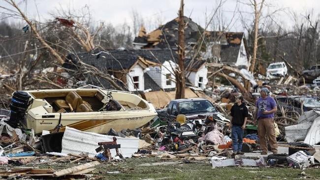 Presiden Donald Trump menyampaikan ucapan bela sungkawa terhadap para korban tornado tersebut.(AP Photo/Wade Payne)