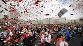 Hari Perempuan Sedunia di Minsk, Belarus, diperingati dengan ajang lari 'Beauty Run'. (AP Photo/Sergei Grits)
