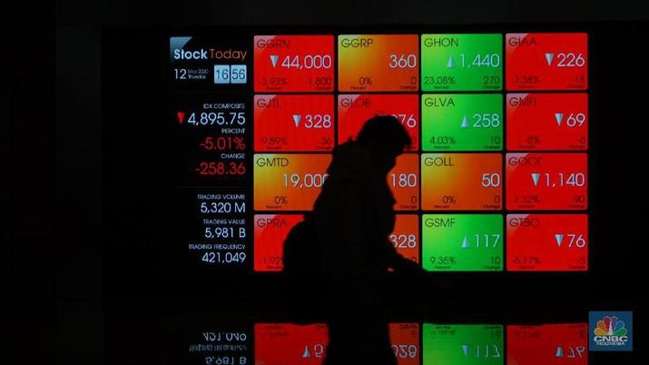Pengunjung melintas di depan layar pergerakan saham di Bursa Efek Indonesia, Kamis, 12 Maret 2020. Indeks Harga Saham Gabungan (IHSG) anjlok 5,01% ke 4.895,75. Perdagangan saham di Bursa Efek Indonesia (BEI) dihentikan sementara (trading halt) setelah  Harga tersebut ke 4.895,75 terjadi pada pukul 15.33 WIB.  (CNBC Indonesia/Muhammad Sabki)