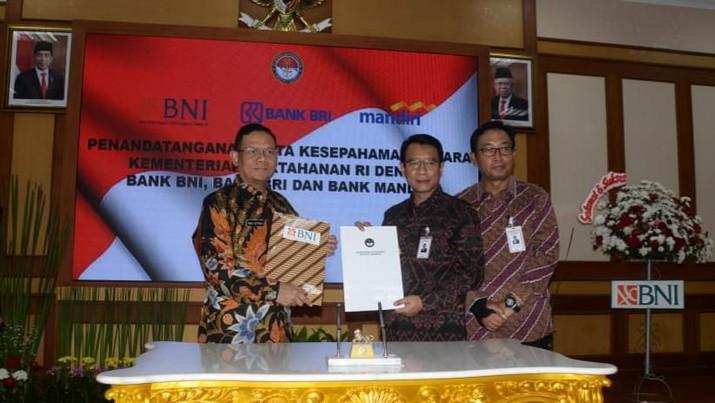 Kementerian Pertahanan RI memperkuat kerjasamanya dengan bank-bank milik negara (Himbara), salah satunya bank BNI.
