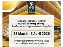 Waspada Corona, Sushi Tei & Restoran Ternama Tutup Sementara