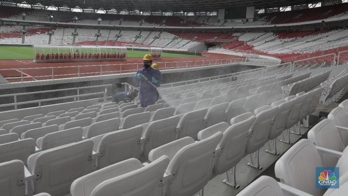 Cegah Virus Corona, Stadion Utama GBK 'Diguyur' Disinfektan