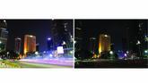 Pemandangan kota Jakarta sebelum dan selama Hari Bumi pada 28 Maret 2020. (Bay ISMOYO / AFP)