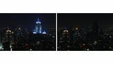 Pemandangan pencakar langit di Bangkok sebelum dan selama Hari Bumi pada 28 Maret 2020. (Mladen ANTONOV / AFP)