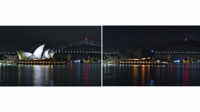 Jembatan Sydney Harbour dan Gedung Opera di Australia ikut mematikan lampunya selama satu jam demi mengurangi polusi cahaya dan pemborosan bahan bakar selama Hari Bumi. (PETER PARKS / AFP)