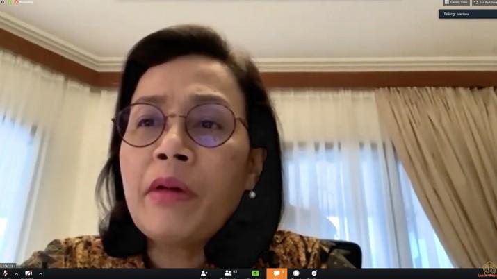 Konfrensi Pers Menteri Keuangan, Sri Mulyani terkait Stimulus Ekonomi pada Rabu (01/04) (Youtube Kementerian Keuangan)