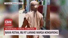 VIDEO: Bawa Rotan, Ibu RT Larang Warga Nongkrong