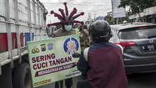 FOTO: Helm Unik Polisi Mojokerto saat Kampanye Bahaya Corona