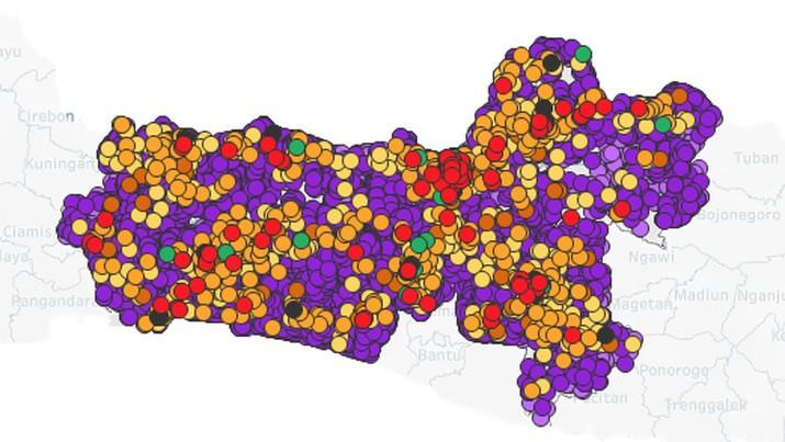 Peta Penyebaran Covid-19 di Jawa Tengah (11/4/2020). (corona.jatengprov.go.id)