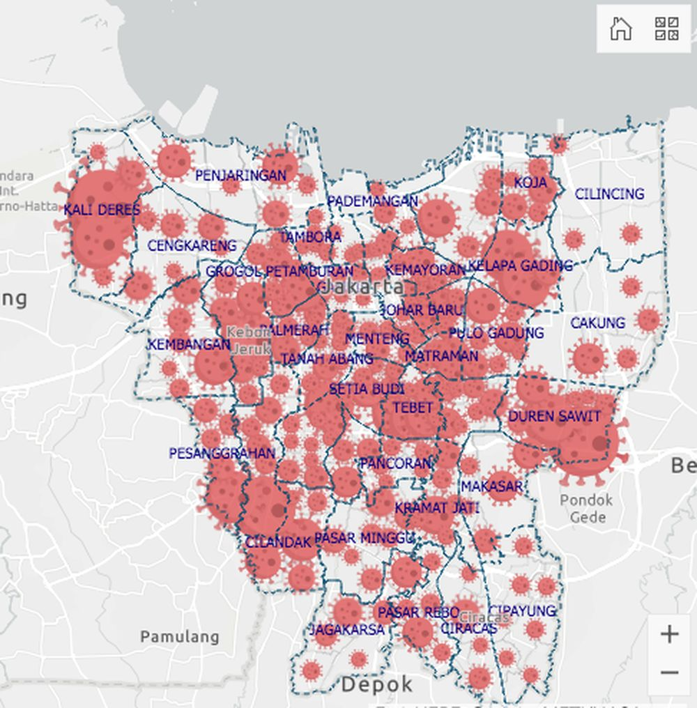 Kasus COVID-19 tersebar di 33 provinsi. Provinsi DKI Jakarta memuat kasus paling banyak.