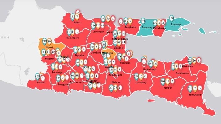 Peta Penyebaran Covid-19 di Jawa Timur (11/4/2020). (infocovid19.jatimprov.go.id)
