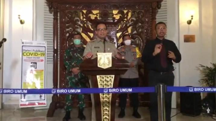 Gubernur DKI Jakarta Anies Baswedan Memberikan Keterangan Pers Mengenai Perkembangan Penanganan COVID-19 Jakarta (Youtube Pemprov DKI Jakarta)