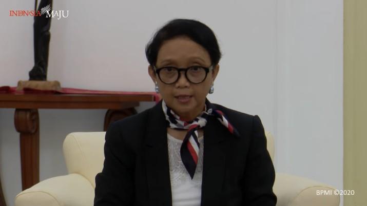 Menlu RI Retno Marsudi Konpers hasil KTT.
