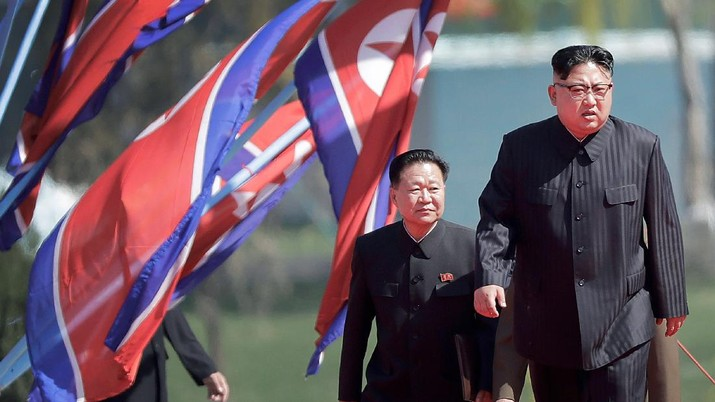 FILE - In this April 13, 2017,choech file photo, North Korean leader Kim Jong Un, right, and Choe Ryong Hae, vice-chairman of the central committee of the Workers' Party, arrive for the official opening of the Ryomyong residential area, in Pyongyang, North Korea. With North Korea saying nothing so far about outside media reports that leader Kim Jong Un may be unwell, there's renewed worry about who's next in line to run a nuclear-armed country that's been ruled by the same family for seven decades. (AP Photo/Wong Maye-E, File)