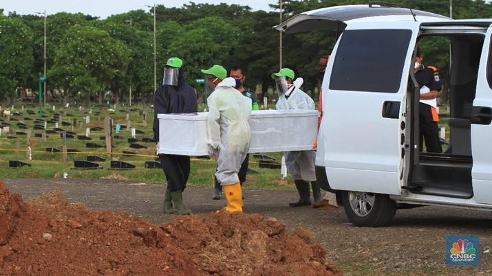 Pemakaman Covid-19 di TPU Tegal Alur, Jakarta Barat. (CNBC Indonesia/Tri Susilo)