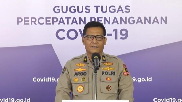 Penegakan Hukum Larangan Mudik – Temuan Pelanggaran PSBB - Brigjen Pol Raden Prabowo Argo Yuwono, S.I.K, M.Si– Karo Penmas Divhumas Polri. (BNPB)