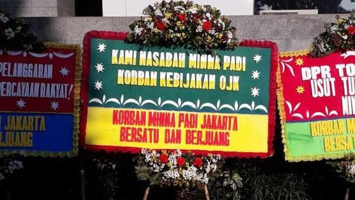 Karangan Bunga Minna Padi di DPR, 8 Mei 2020 (Dok. Komunitas Investor Minna Padi)