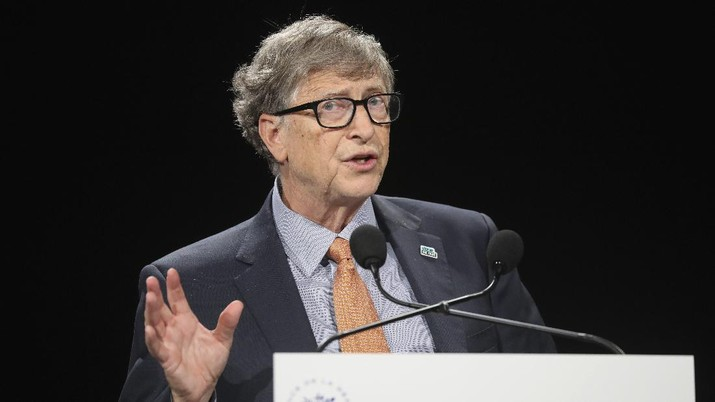 Philanthropist and Co-Chairman of the Bill & Melinda Gates Foundation Bill Gates gestures as he speaks to the audience during the Global Fund to Fight AIDS event at the Lyon's congress hall, central France, Thursday, Oct. 10, 2019. French President Emmanuel Macron said the conference of the Global Fund to fight against AIDS, tuberculosis and malaria raised at least $13.92 billion for the next three years. (Ludovic Marin/Pool Photo via AP)