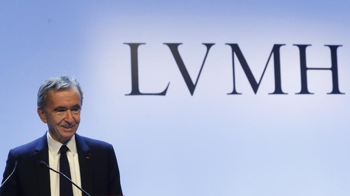 CEO of LVMH Bernard Arnault presents the group's 2019 results during a press conference, in Paris, Tuesday, Jan. 28, 2020. (AP Photo/Thibault Camus)