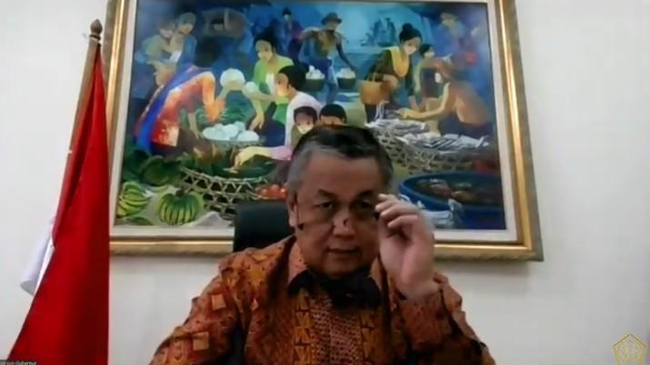 Gubernur Bank Indonesia Perry Warjiyo dalam konferensi pers Komite Stabilitas Sistem Keuangan (KSSK). (Youtube Kemenkeu RI)