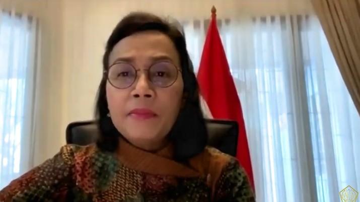 Menteri Keuangan, Sri Mulyani dalam konferensi pers Komite Stabilitas Sistem Keuangan (KSSK). (Youtube Kemenkeu RI)