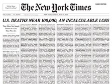 Dekati 100 Ribu, Headline NY Times Diisi Daftar Korban Corona