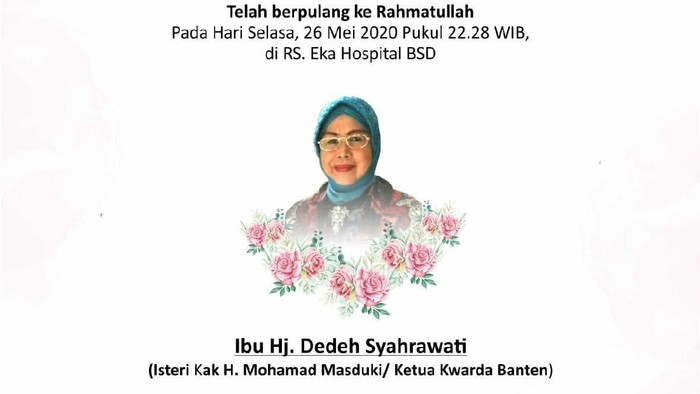 Fakta Meninggalnya Dedeh, Istri Eks Wagub Banten yang Bikin Heboh