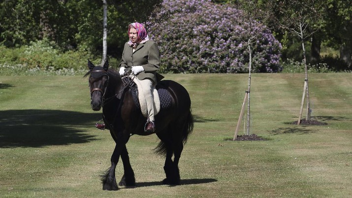 EMBARGOED: Not for publication or onward transmission before 2230 BST Sunday May 31, 2020. In this photo released Sunday May 31, 2020, Britain's Queen Elizabeth II rides Balmoral Fern, a 14-year-old Fell Pony, in Windsor Home Park over the weekend at the end of May, in Windsor, England. The Queen has been in residence at Windsor Castle during the COVID-19 coronavirus pandemic. (Steve Parsons/Pool via AP)