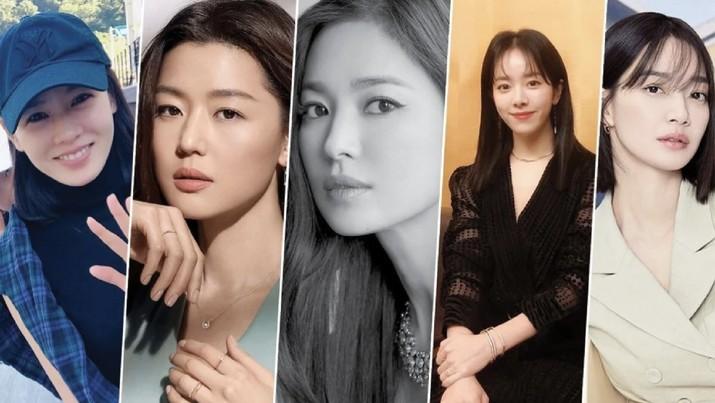 Dari kiri: Son Ye-jin, Jun Ji-hyun, Song Hye-kyo, Han Ji-min dan Shin Min-ah adalah di antara aktris hallyu berpengalaman yang telah membantu membuat drama Korea menjadi kisah sukses global. Foto: Instagram
