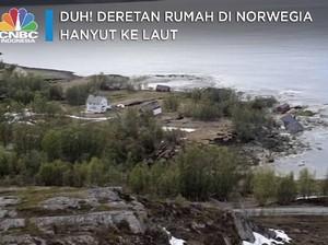 Duh! Deretan Rumah di Norwegia ini Terseret Longsor ke Laut