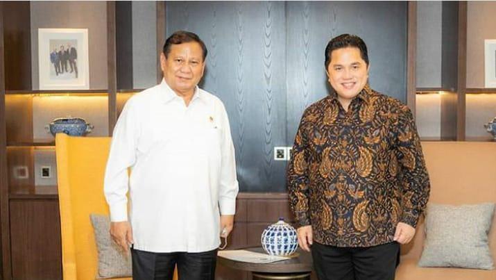 Suasana pertemuan Prabowo Subianto dan Erick Thohir di kantor Kementerian BUMN, Kamis (11/6/2020).