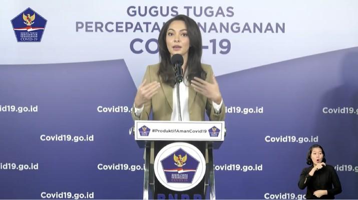 Tim Komunikasi Publik Gugus Tugas, Reisa Broto Asmoro (Tangkapan Layar Youtube BNPB Indonesia)