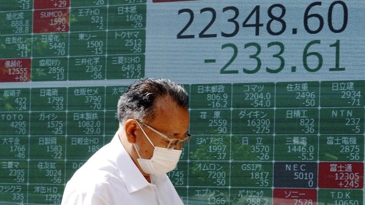 A man walks in front of an electronic stock board showing Japan's Nikkei 225 index at a securities firm in Tokyo Wednesday, June 17, 2020. Major Asian stock markets declined Wednesday after Wall Street gained on hopes for a global economic recovery and Japan's exports sank. (AP Photo/Eugene Hoshiko)
