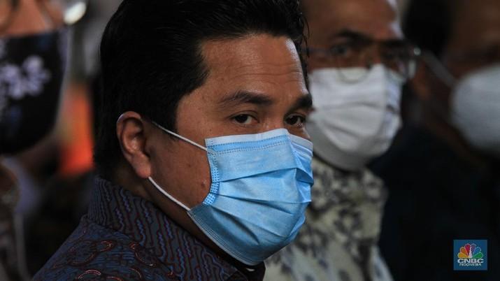 Menteri BUMN Erick Thohir saat peresmian staisun terpadu Tanah Abang, Rabu (17/6/2020) (CNBC Indonesia/ Tri Susilo)